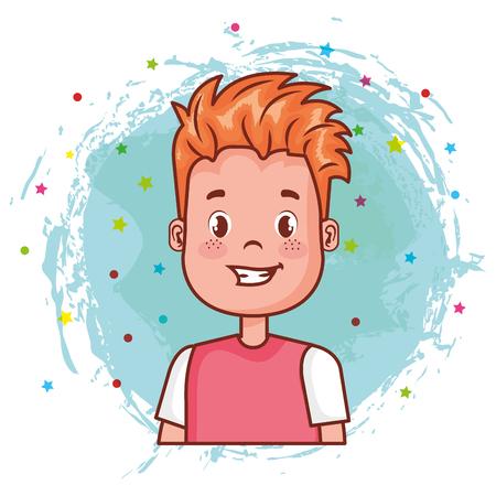 little happy boy avatar character vector illustration design