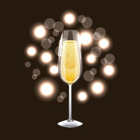 Champagne glass drink celebration blur background vector illustration