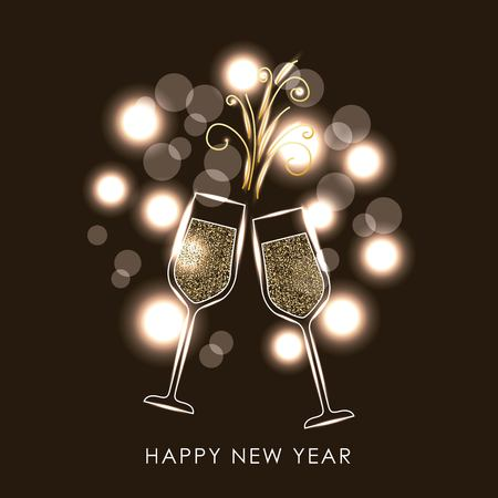 Pairs of champagne glass cheers drink blurred lights vector illustration Imagens - 89982315