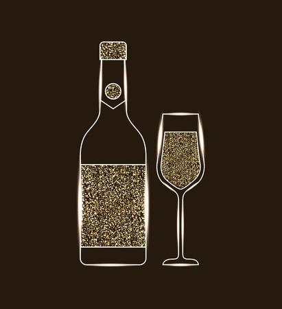 bottle champagne and glass celebration vector illustration Ilustração
