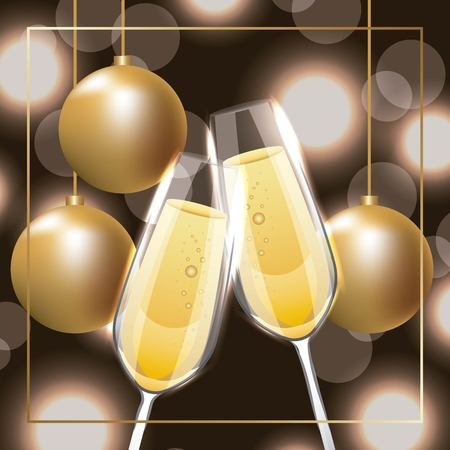 pair of champagne glass cheers golden balls hanging vector illustration