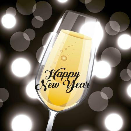 Happy New Year champagne glass drink blurred background vector illustration Illustration