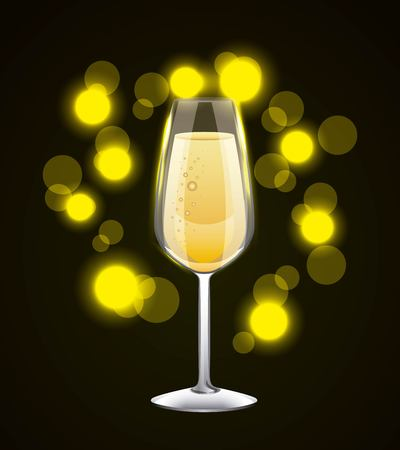 champagne glass drink celebration glowing background vector illustration