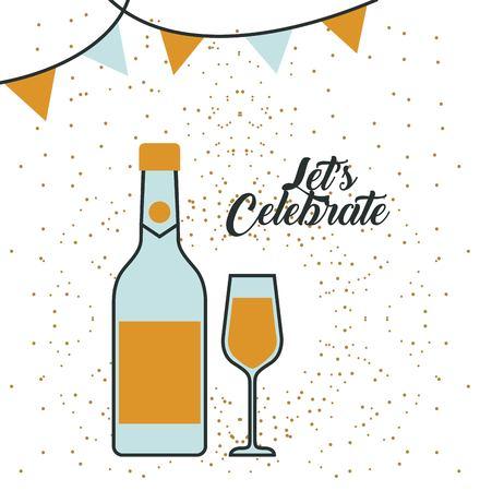 uncork: bottle champagne and glass celebration vector illustration Illustration