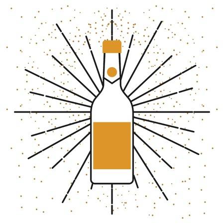 Botella de champán beber alcohol celebración vector illustration Foto de archivo - 89976395