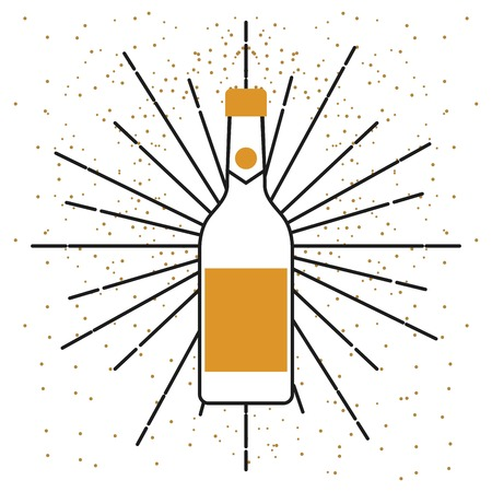 champagne bottle drink alcohol celebration vector illustration Banco de Imagens - 89976395