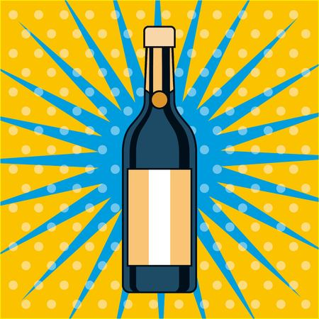 champagne bottle drink alcohol pop art design vector illustration Ilustração