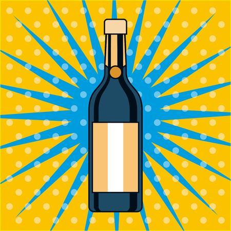 champagne fles drinken alcohol pop art ontwerp vectorillustratie
