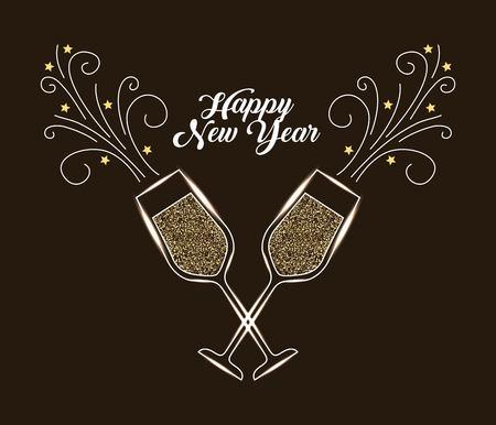 Het gelukkige Nieuwjaarsjaar van champagneglas juicht de vectorillustratie van de drankviering toe Stock Illustratie