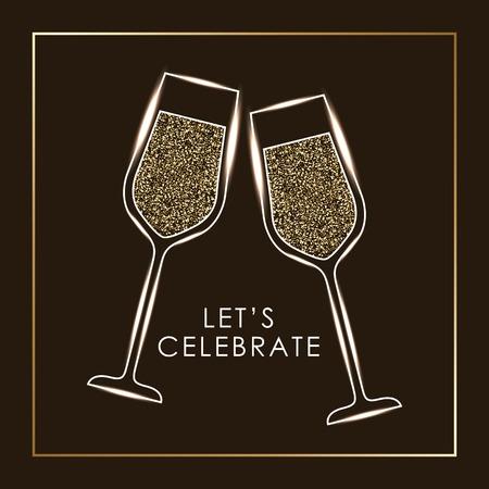 シャンパン グラス乾杯ドリンク ベクトル図のペアを祝おう