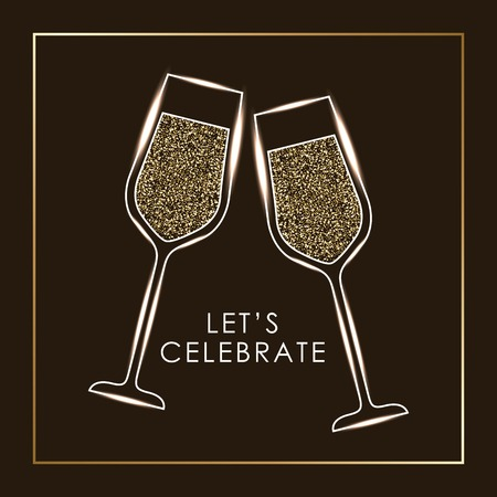 Lets celebrate pair of champagne glass cheers drink vector illustration Illustration