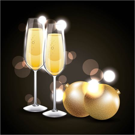pair of champagne glass cheers golden balls blurred vector illustration