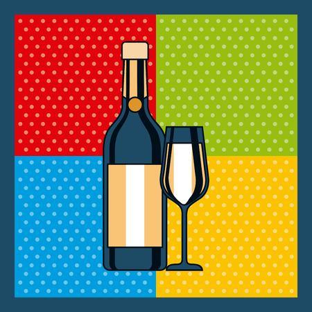 bottle champagne and glass celebration colors background vector illustration