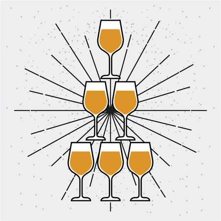 champagne glasses pyramid celebration event vector illustration