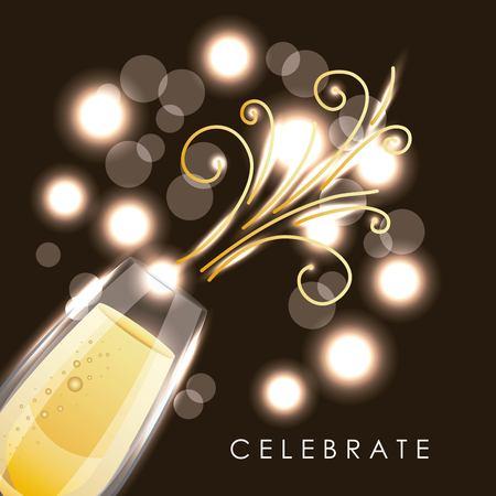 축하 샴페인 유리 음료 신년 파티 벡터 일러스트 레이션