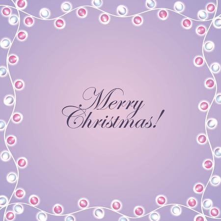 Merry Christmas card invitation lights decoration frame vector illustration Stock Vector - 89982318