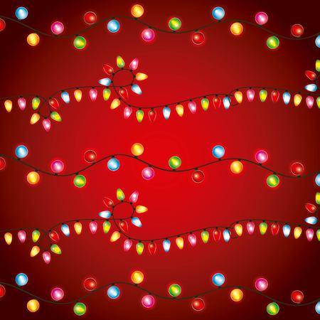 Christmas lights luminous garland bulbs decoration red background vector illustration