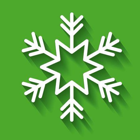 white snowflake decoration green background vector illustration