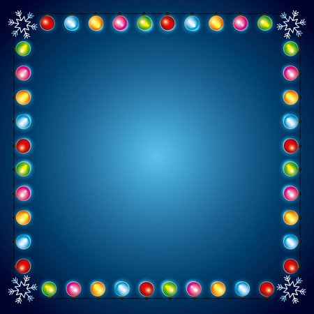 christmas lights luminous garland snowflake border decoration vector illustration