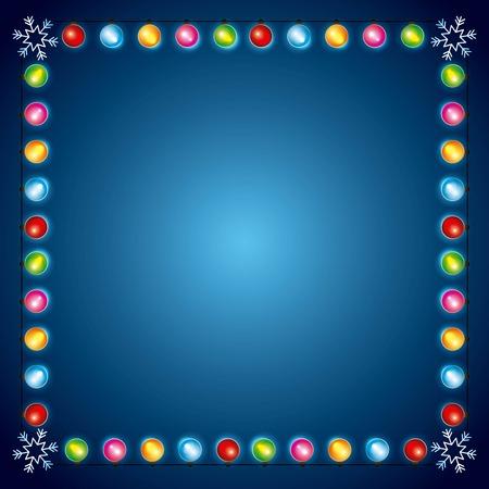 christmas lights luminous garland snowflake border decoration vector illustration