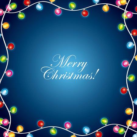 merry christmas garland lights greeting cards design vector illustration