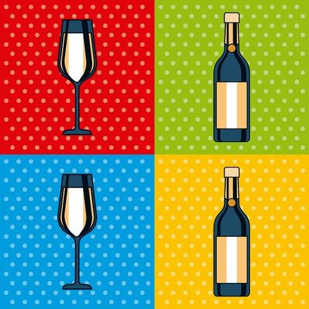 Satz des Flaschenchampagner- und -glasfeierquadrats färbt Hintergrundvektorillustration Standard-Bild - 89976409