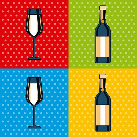 set of bottle champagne and glass celebration square colors background vector illustration