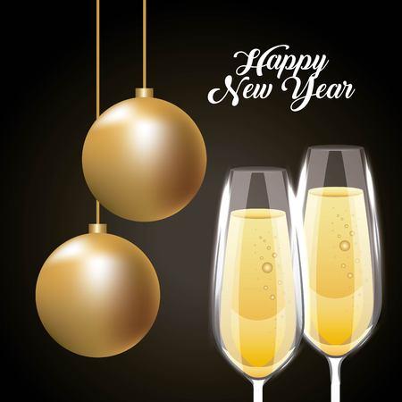 happy new year pair champagne glass and golden balls decoration vector illustration