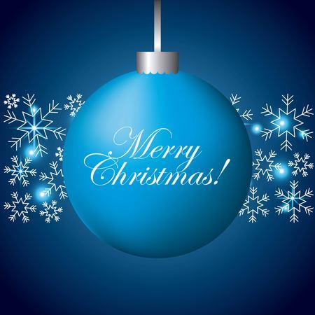 メリー クリスマス青い球スノーフレーク ライト装飾ベクトル イラスト