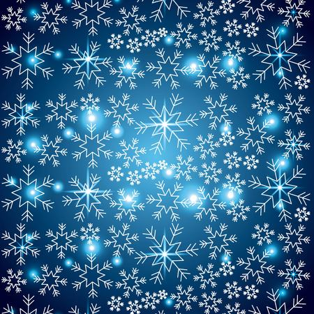 blue elegant christmas background with snowflakes abstract lights vector illustration