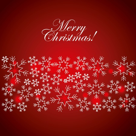 merry christmas greeting card snowflake glow red background vector illustration