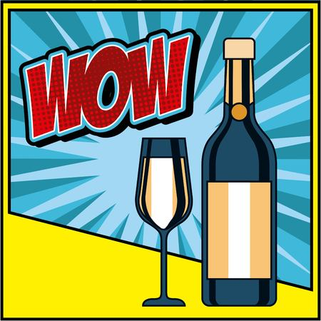 bottle champagne and glass celebration wow pop art vector illustration