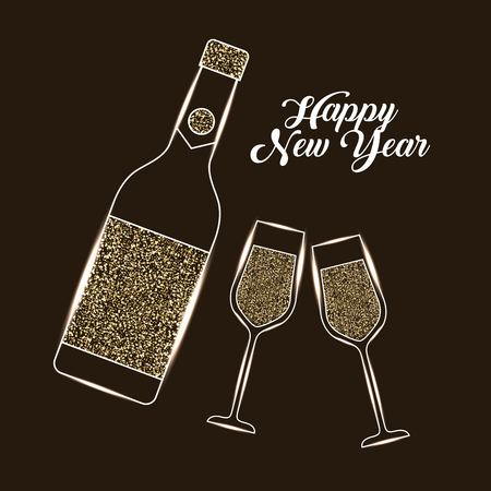 Happy New Year bottle champagne and glass celebration vector illustration