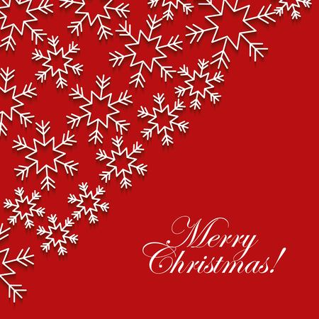 Merry Christmas red greeting card with white snowflake vector illustration