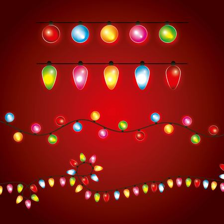 christmas differents garland lights luminous decoration red background vector illustration
