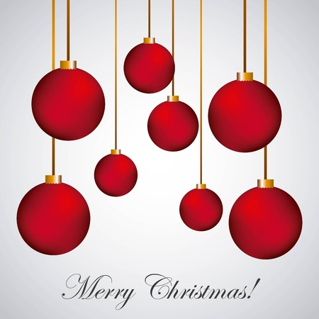caes: merry christmas poster red balls hanging decoration vector illustration Vectores