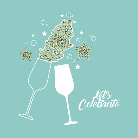 pair of champagne glass cheers drink celebration vector illustration