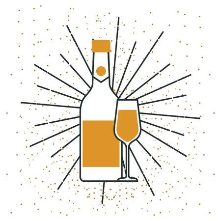 bottle champagne and glass celebration vector illustration Çizim