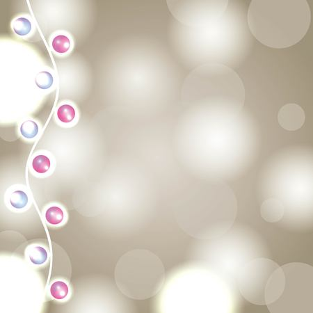 Garland lights Christmas background blurred abstract vector illustration Illusztráció
