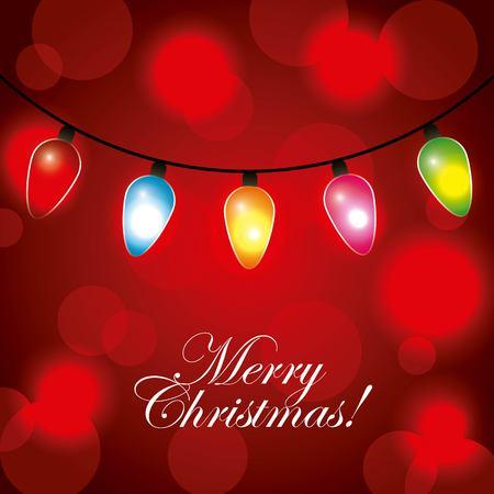 Gruß-Einladungs-Kartengirlande der frohen Weihnachten beleuchtet rote unscharfe Dekorationsvektorillustration Standard-Bild - 89976453