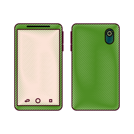 smartphone gadget didigtal front and back view design vector illustration