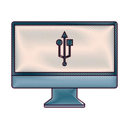 monitor computer usb app button screen vector illustration