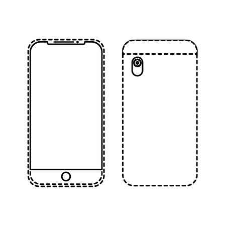 smartphone gadget didigtal front and back view design vector illustration