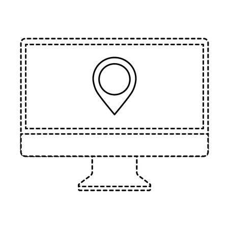 Monitor computer pointer map on screen app vector illustration