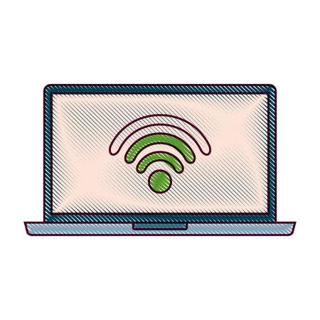 노트북 와이파이 인터넷 장치 가제트 화면 벡터 일러스트 레이션 일러스트