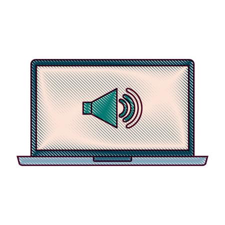 노트북 사운드 음악 장치 가제트 화면 벡터 일러스트 레이션