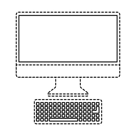 Monitor computer keyboard technology device screen vector illustration