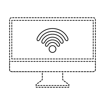 Monitor computer wifi connection screen device vector illustration Ilustrace