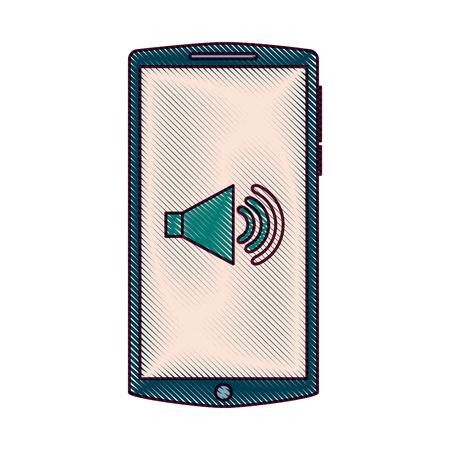 휴대 전화 화면 볼륨 사운드 가제트 벡터 일러스트 레이션