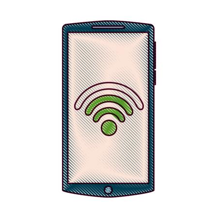 mobile phone gadget wifi internet screen vector illustration Illusztráció